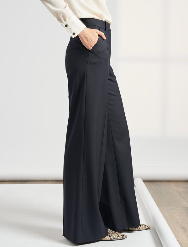 Whitney Wide Leg Wool Blend Trouser - Navy