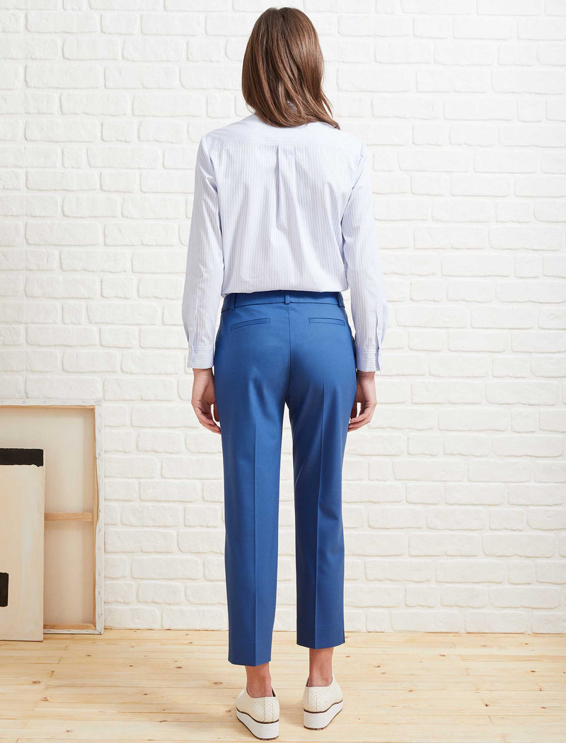 Tatum Split Hem Stretch Wool Blend Trouser - Cornflower Blue