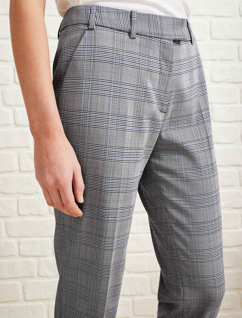 Clement Tailored Turn Up Wool Blend Trousers - Grey Prince of Wales Check