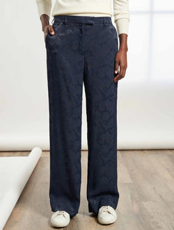 Terence Easy Wide Leg Trouser - Navy Camo Jacquard
