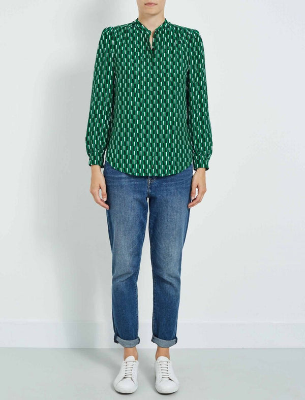Maya Gathered Detail Blouse - Emerald Geo Print