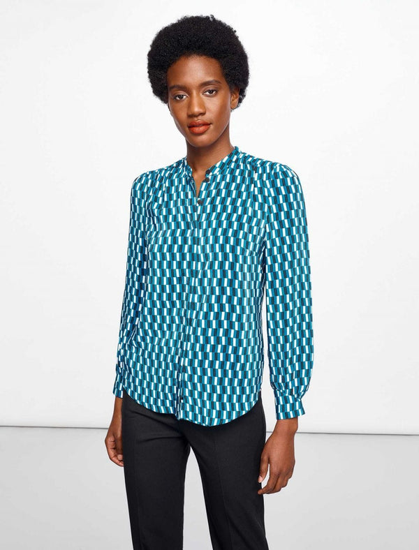 Maya Gathered Detail Blouse - Turquoise Geo Print
