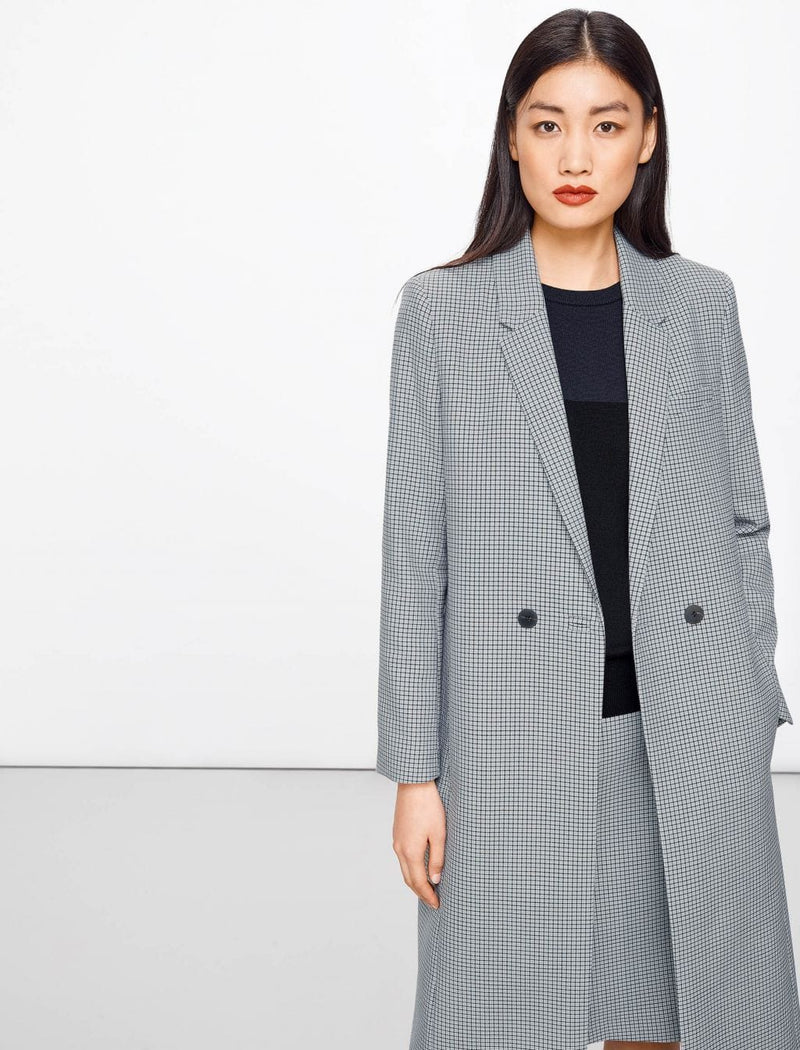 Piper Houndstooth Wool Blend Coat - Navy Houndstooth