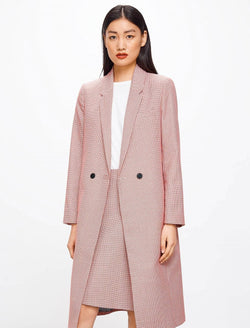 Piper Houndstooth Wool Blend Coat - Pink Houndstooth