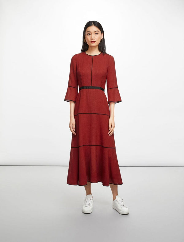 Tyler Tiered A-Line Maxi Dress - Brick Red/Black