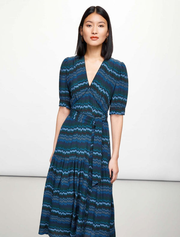 Maisie Maxi Tea Dress - Turquoise Chevron