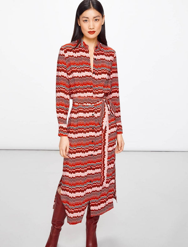 Joey Maxi Shirt Dress - Crimson Chevron