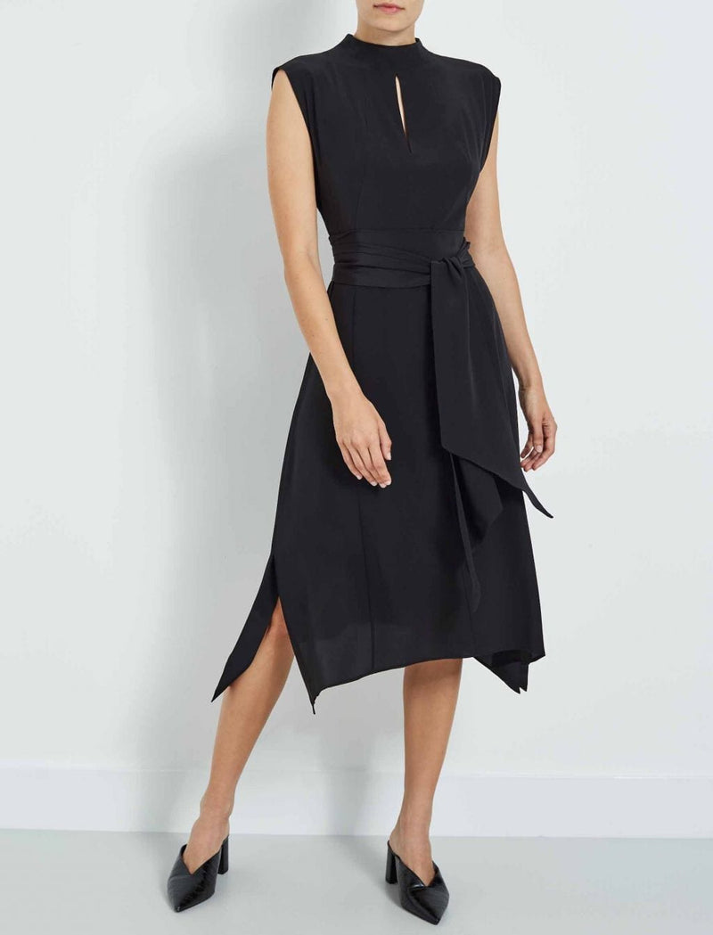 Mia Silk Midi Dress - Black