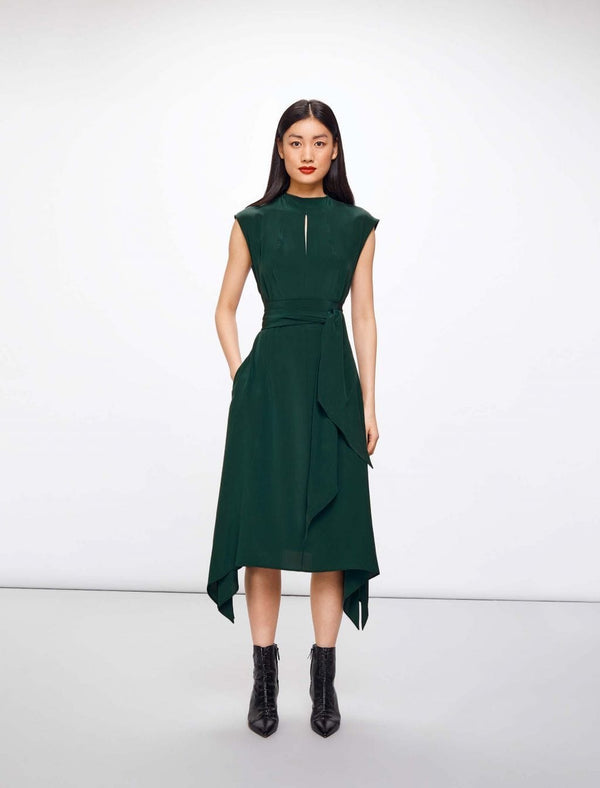Mia Silk Midi Dress - Teal