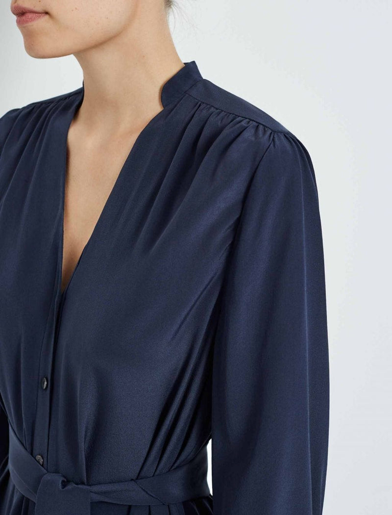Martha Silk Midi Shirt Dress - Navy