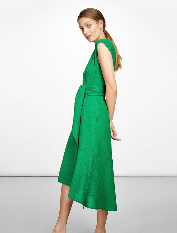 Freya Dipped Hem Midi Dress - Emerald Green