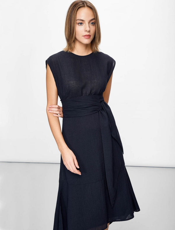 navy dipped hem dress