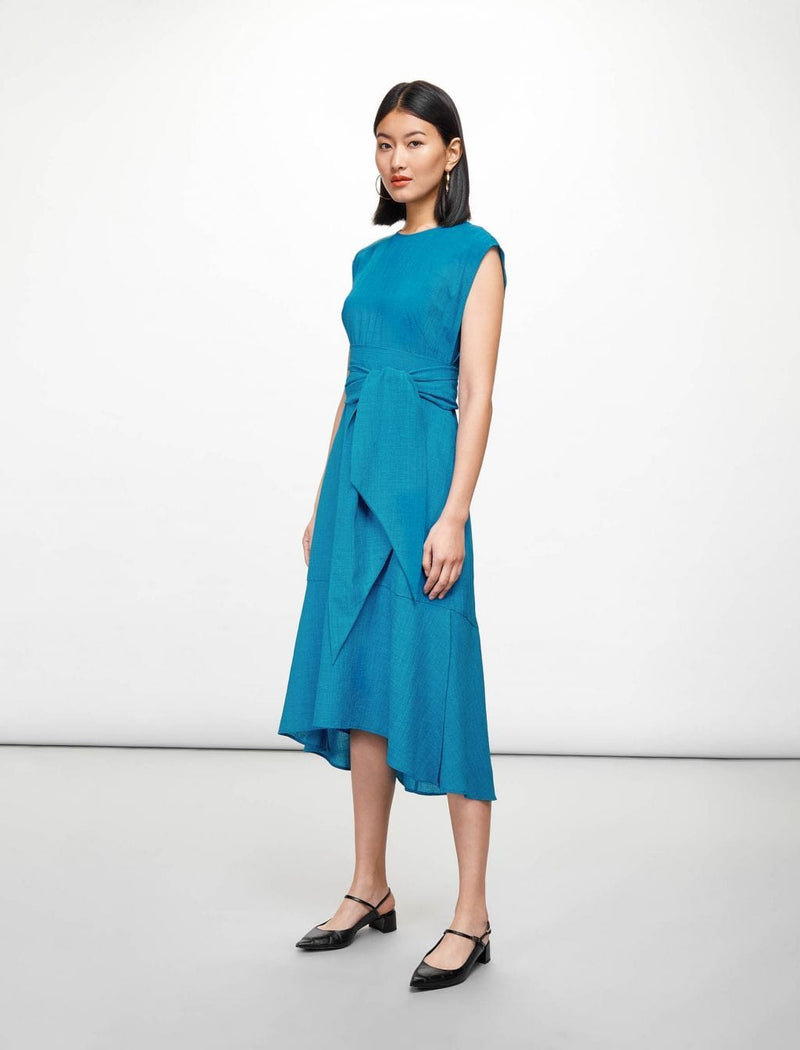 Freya Dipped Hem Midi Dress - Turquoise