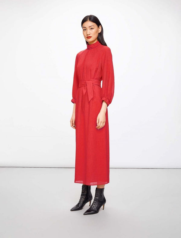 Lauren Gathered Funnel Neck Maxi Dress - Crimson