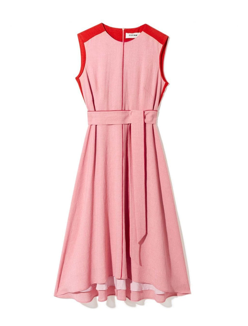Ginnie Colourblock Midi Dress - Blush/Crimson