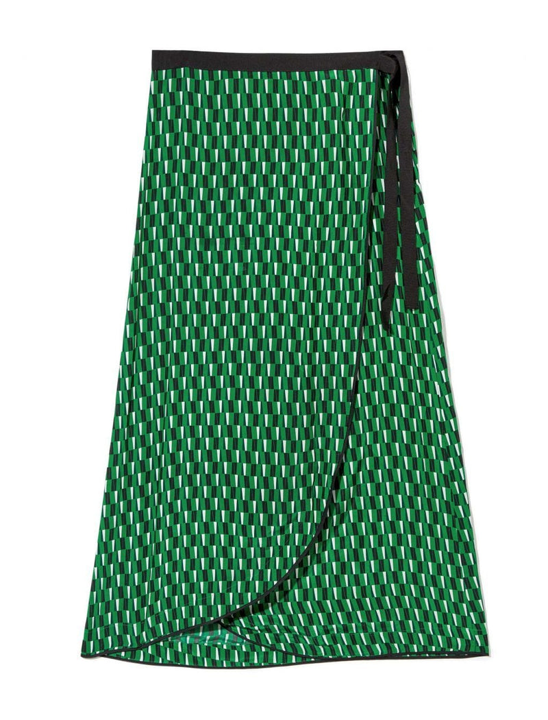 Isla Maxi Ribbon Wrap Skirt - Emerald Geo Print
