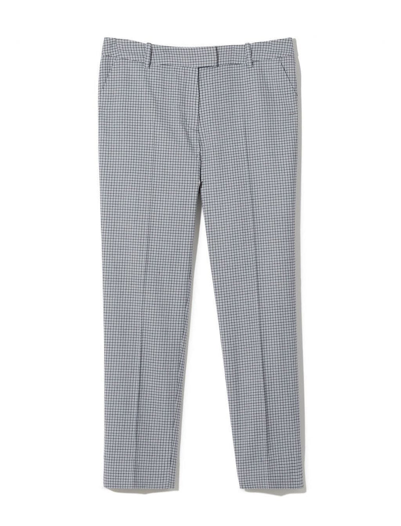 Tatum Houndstooth Wool Blend Trousers - Navy Houndstooth