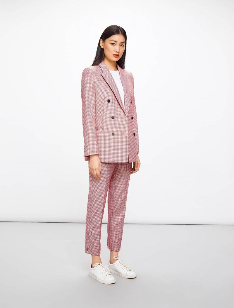 Logan Houndstooth Double Breasted Wool Blend Blazer - Pink Houndstooth