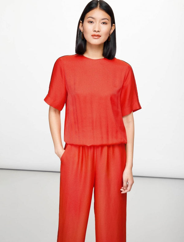 Short Sleeve Gathered Waist Jumpsuit - Crimson