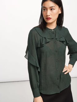 Ava Ruffle Shirt - Fir Green