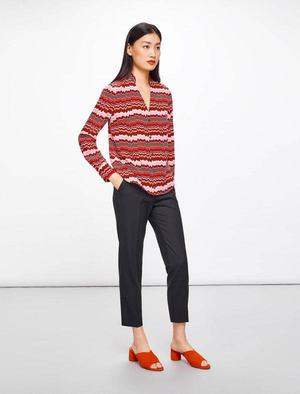 V-Neck Stand Collar Shirt - Crimson Chevron