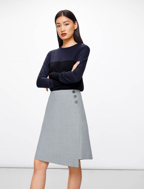 Flap Front A-Line Skirt - Navy Houndstooth | Houndstooth Navy Skirt | A-Line Skirts UK
