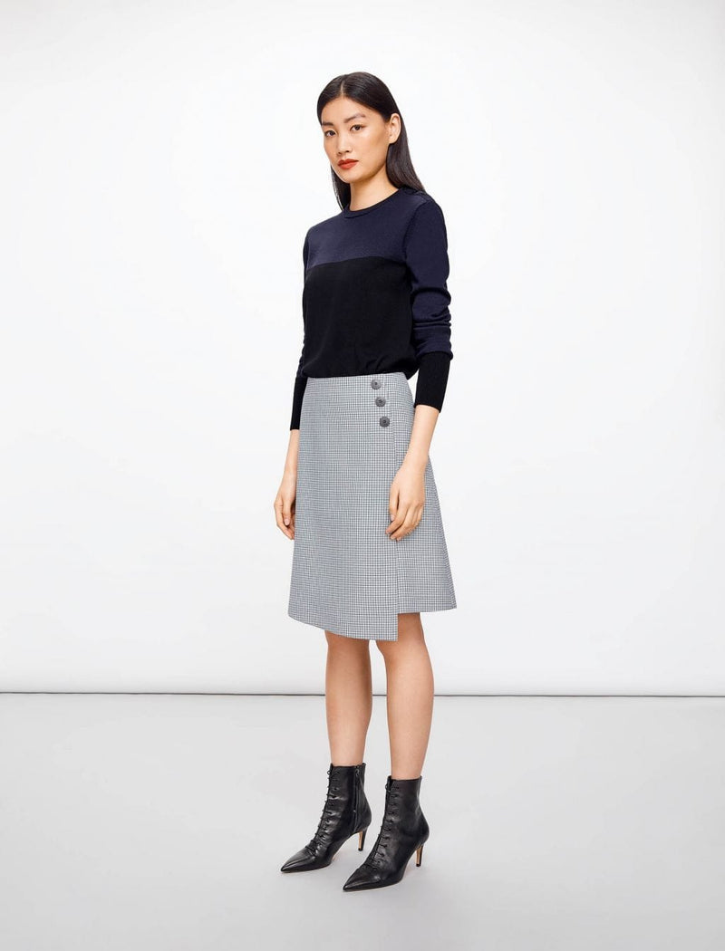 houndstooth wool a-line skirt