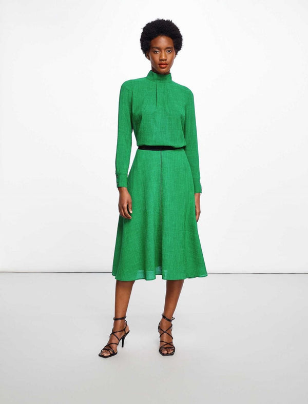 Midi A-Line Skirt With Contrast Piping - Emerald Green
