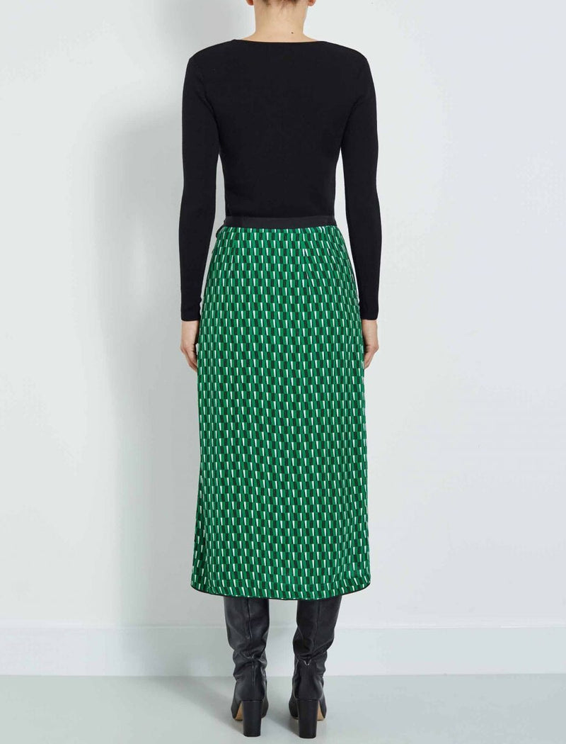 emerald wrap skirt geo print