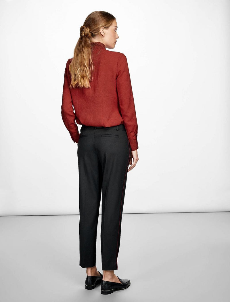 Tatum Stripe Stretch Wool Blend Trouser - Black/Dark Red
