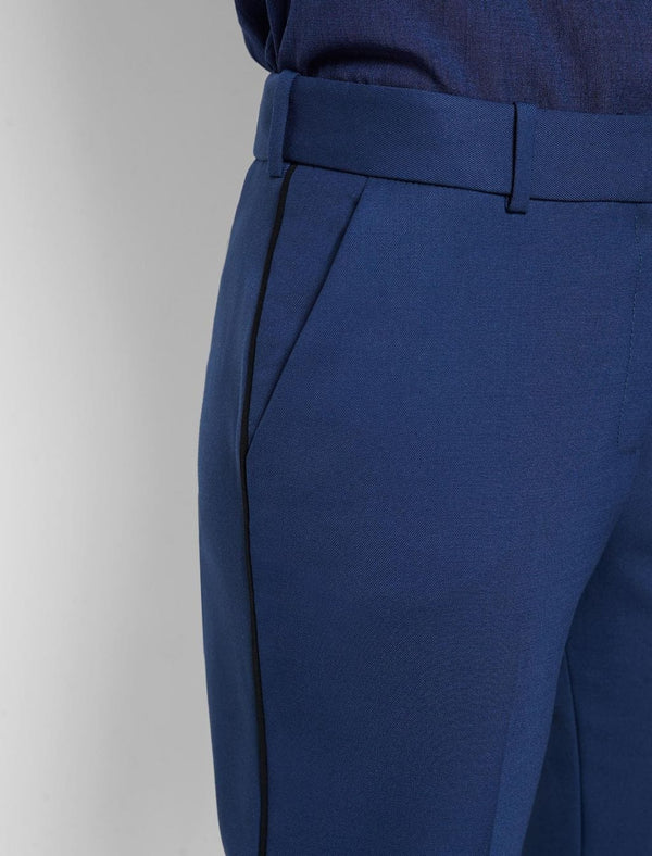 Tatum Stretch Wool Blend Trouser with Piping - Cobalt