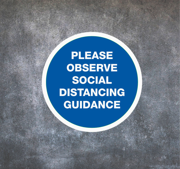 NON-SLIP FLOOR STICKERS 'OBSERVE SOCIAL DISTANCING'