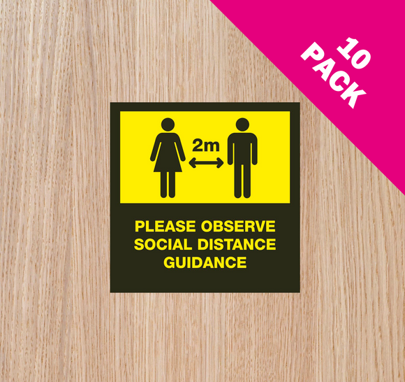 DOOR STICKERS - '2m IN OPERATION' PACK OF 10