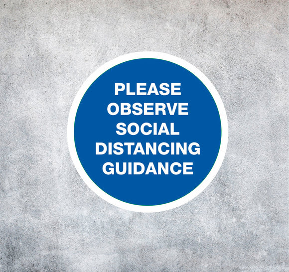 WALL STICKERS - 'Observe Social Distancing', Social Distancing Stickers - We Print