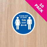 DOOR STICKERS - '1m+ APART' PACK OF 10