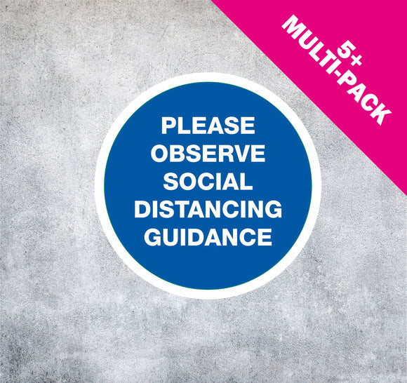 NON-SLIP FLOOR STICKERS 'OBSERVE SOCIAL DISTANCING' MULTI-PACK 5+