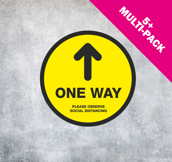 NON-SLIP FLOOR STICKERS 'ONE WAY'  MULTI-PACK 5+