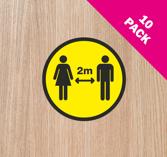 DOOR STICKERS - '2m APART' PACK OF 10