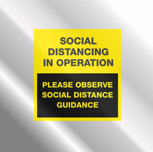 WINDOW CLINGS - 'Social Distancing in Operation'