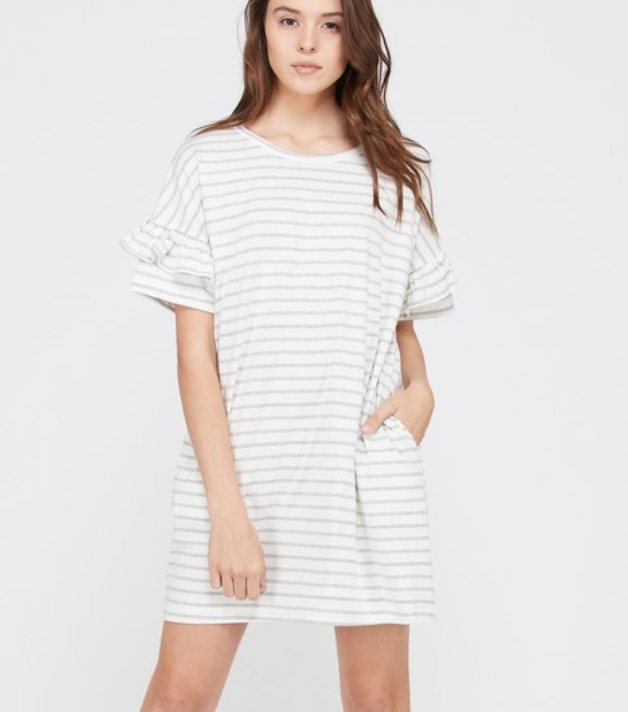 Striped Layered Ruffle Sleeve Dress