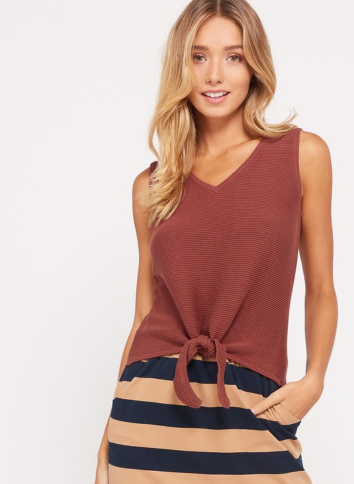 Tie Front Knit Tank