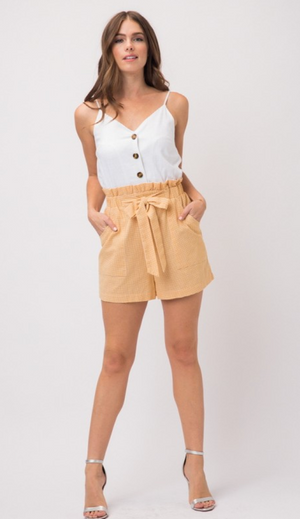 Gingham Button Down Tie Waist Romper