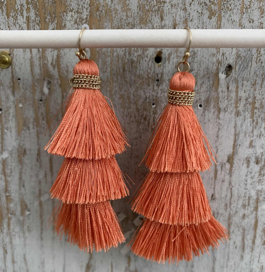 Fishhook Thread Tassel Earrings