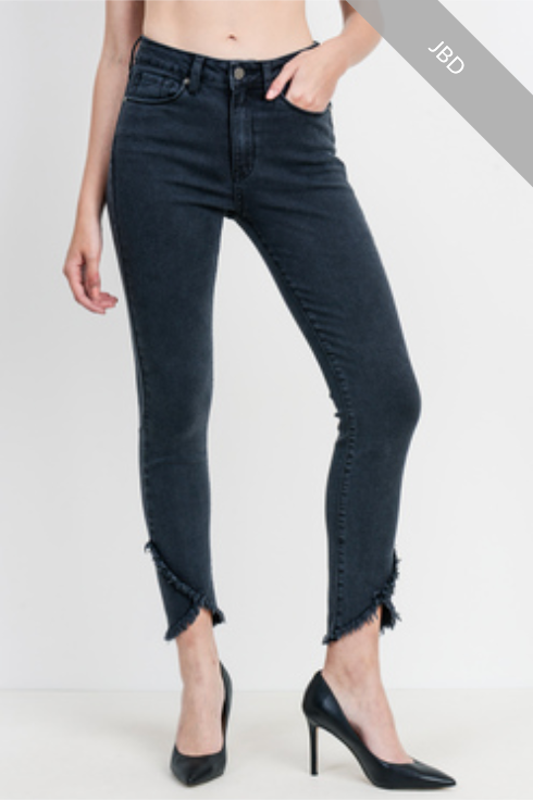 Skinny Denim with Crossover Frayed Hem
