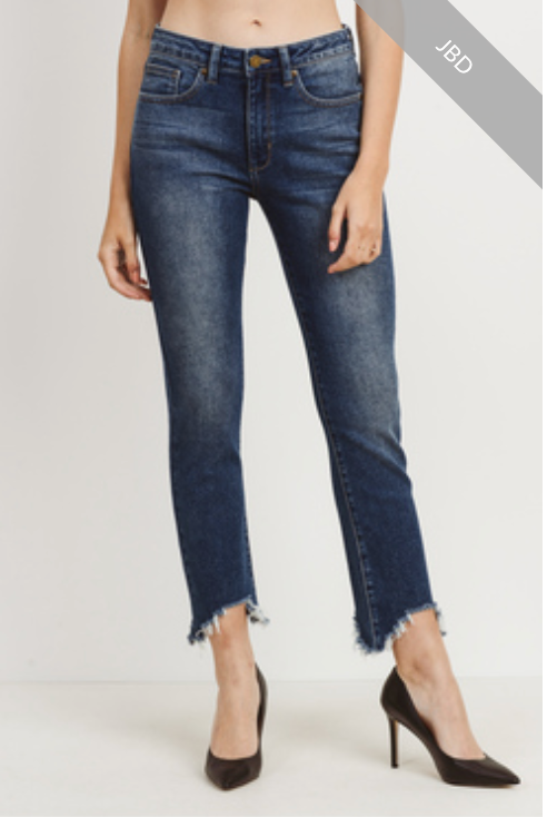 Straight Cropped Denim with Distressed Hem