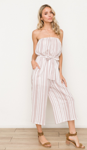 Cropped Belted and Smocked Striped Jumpsuit