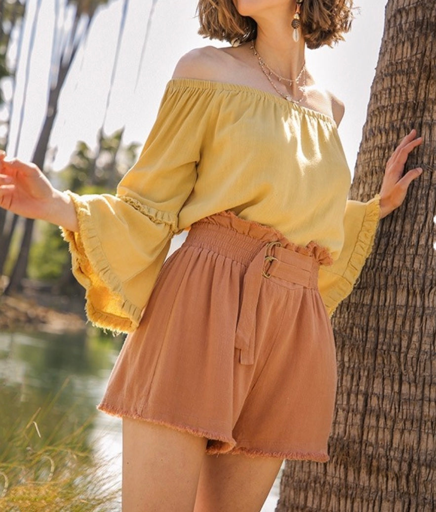 Linen Blend High Waist Shorts with Belt