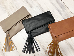 Foldover Crossbody with Tassel Detail