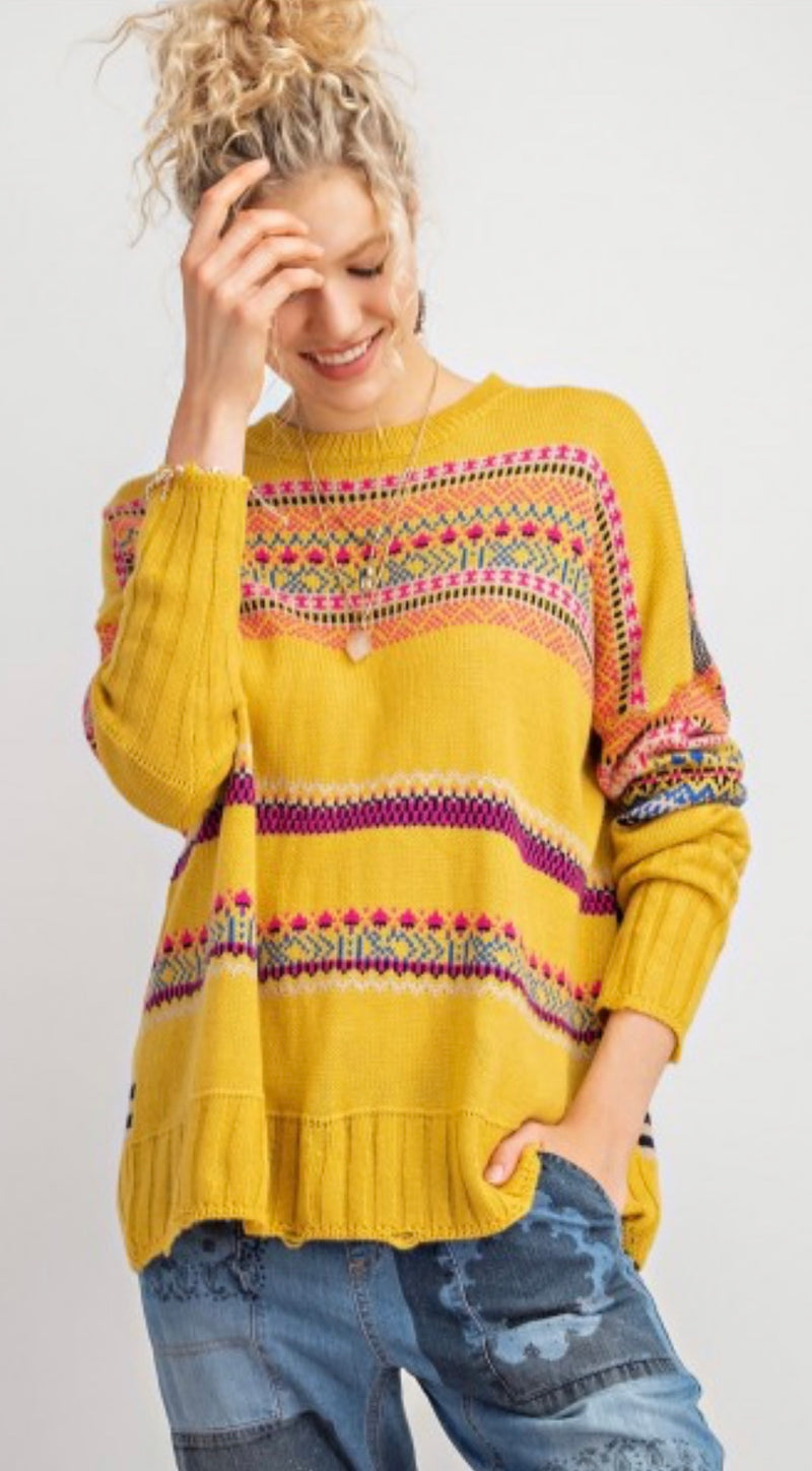 Boho Inspired Sweater Knit Pullover