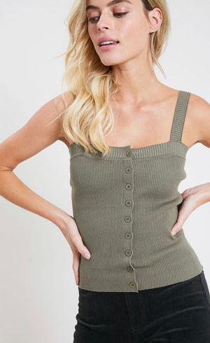 Button Front Ribbed Tank